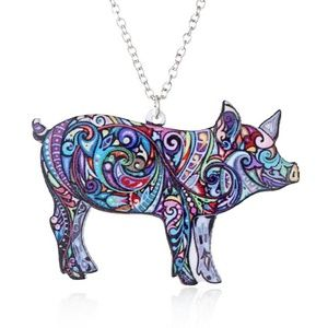 Jewelry - Brand New Colorful Pig Acrylic Pendant Necklace